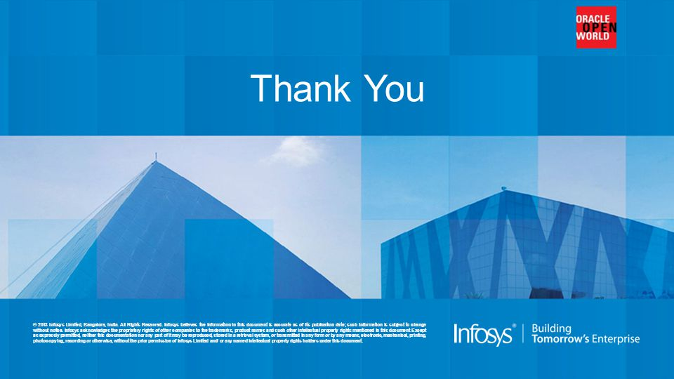 © 2013 Infosys Limited, Bangalore, India. All Rights Reserved. Infosys believes the information in this document is accurate as of its publication dat