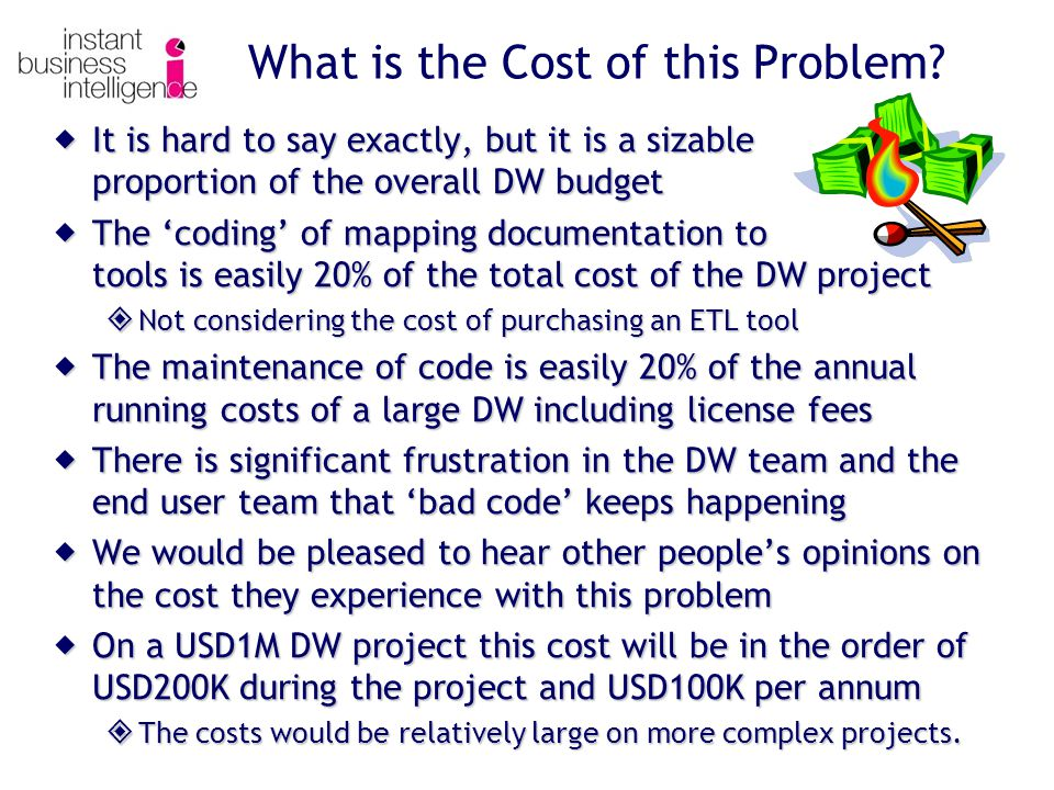 What is the Cost of this Problem?  It is hard to say exactly, but it is a sizable proportion of the overall DW budget  The 'coding' of mapping docum
