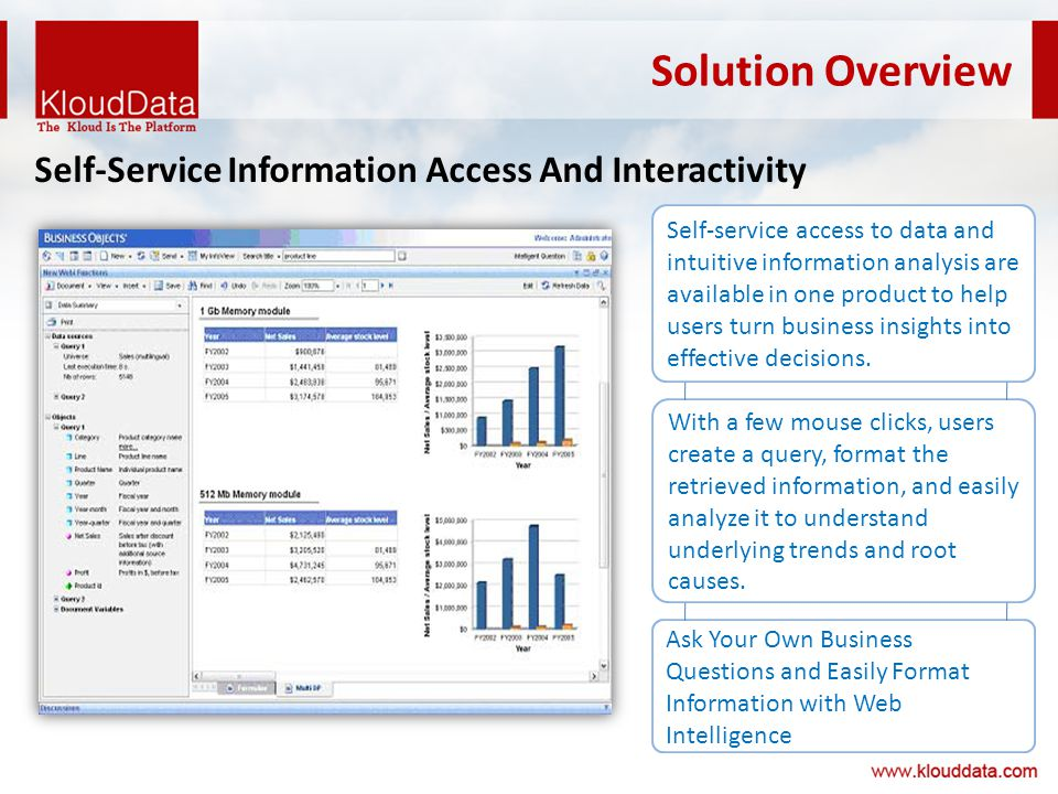 Solution Overview Self-Service Information Access And Interactivity Self-service access to data and intuitive information analysis are available in one product to help users turn business insights into effective decisions.