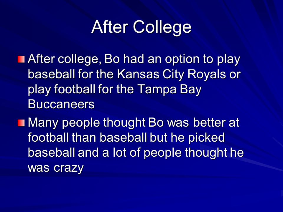 Major League Baseball Bo did not play for the Royals right away He played for the double A team the Memphis Chicks Later in the year he played for the Royals Bo struck out a lot and had trouble hitting with the curveball and he was not a great fielder