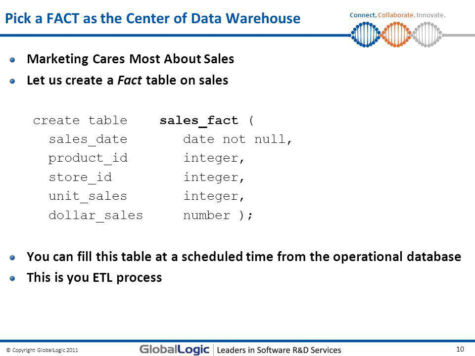 © Copyright GlobalLogic 2011 10 Connect. Collaborate. Innovate. Pick a FACT as the Center of Data Warehouse Marketing Cares Most About Sales Let us cr