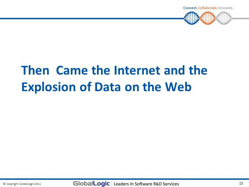 © Copyright GlobalLogic 2011 15 Connect. Collaborate. Innovate. Then Came the Internet and the Explosion of Data on the Web