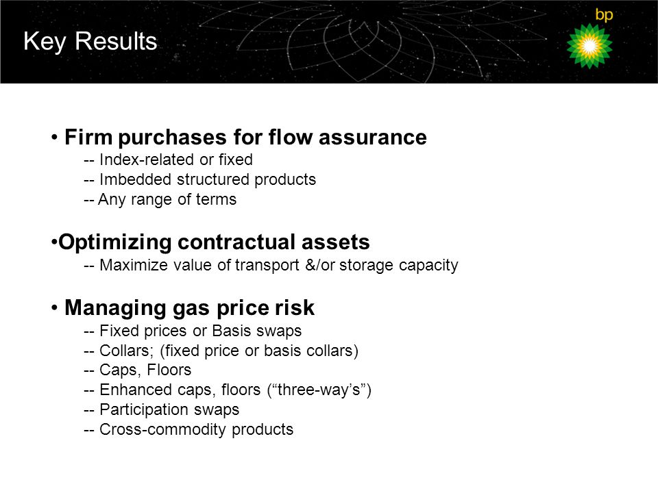Key Results Firm purchases for flow assurance -- Index-related or fixed -- Imbedded structured products -- Any range of terms Optimizing contractual assets -- Maximize value of transport &/or storage capacity Managing gas price risk -- Fixed prices or Basis swaps -- Collars; (fixed price or basis collars) -- Caps, Floors -- Enhanced caps, floors ( three-way's ) -- Participation swaps -- Cross-commodity products