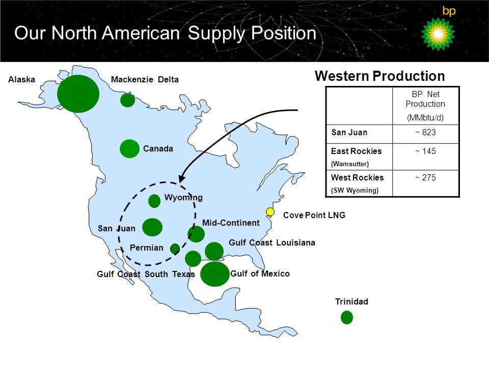 Our North American Supply Position Trinidad Canada Wyoming San Juan Gulf of Mexico Alaska Permian Gulf Coast Louisiana Mid-Continent Gulf Coast South Texas Mackenzie Delta Cove Point LNG BP Net Production (MMbtu/d) San Juan~ 823 East Rockies (Wamsutter) ~ 145 West Rockies (SW Wyoming) ~ 275 Western Production