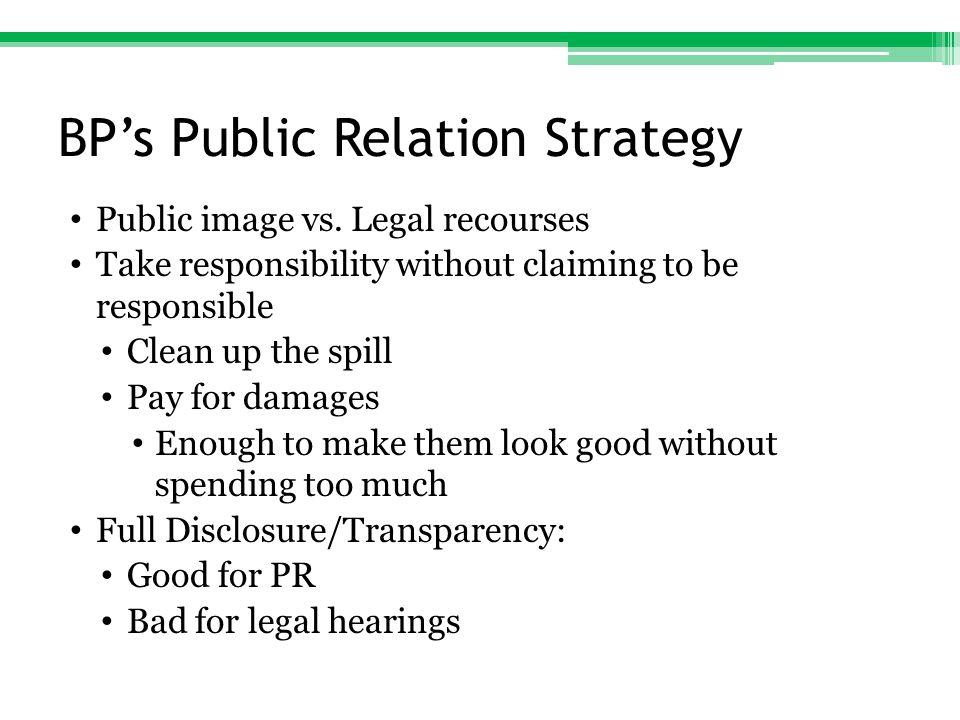 BP's Public Relation Strategy Public image vs.