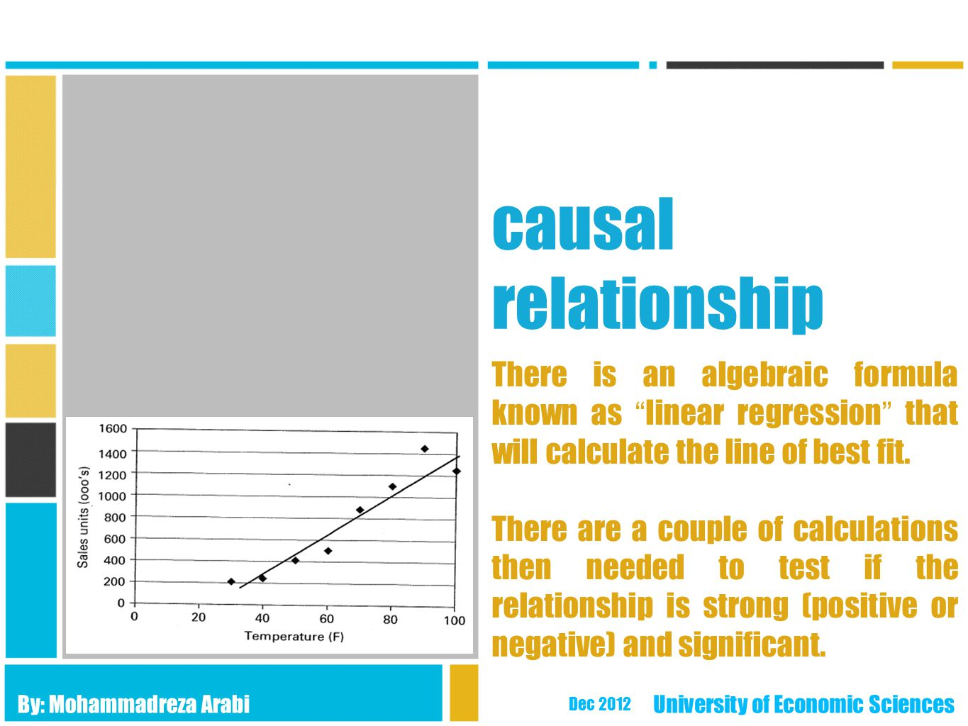 causal relationship There is an algebraic formula known as linear regression that will calculate the line of best fit.