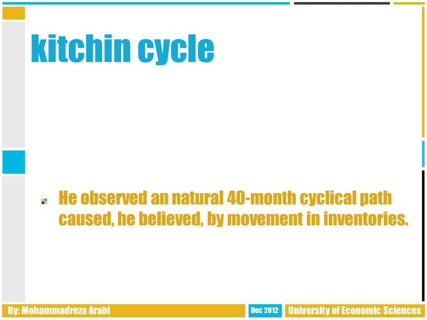 kitchin cycle He observed an natural 40-month cyclical path caused, he believed, by movement in inventories.