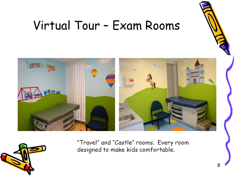 """8 Virtual Tour – Exam Rooms """"Travel"""" and """"Castle"""" rooms. Every room designed to make kids comfortable."""