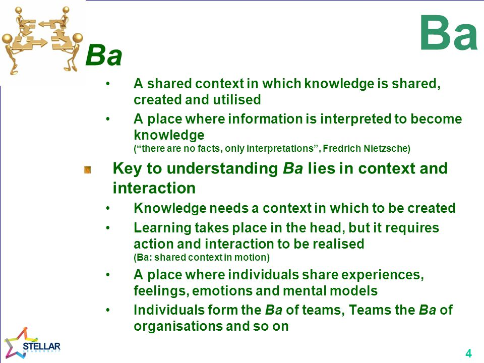 4 Ba A shared context in which knowledge is shared, created and utilised A place where information is interpreted to become knowledge ( there are no facts, only interpretations , Fredrich Nietzsche) Key to understanding Ba lies in context and interaction Knowledge needs a context in which to be created Learning takes place in the head, but it requires action and interaction to be realised (Ba: shared context in motion) A place where individuals share experiences, feelings, emotions and mental models Individuals form the Ba of teams, Teams the Ba of organisations and so on