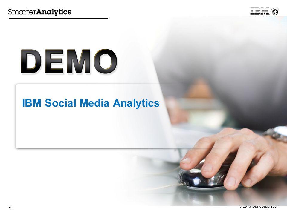 © 2013 IBM Corporation IBM Social Media Analytics 13