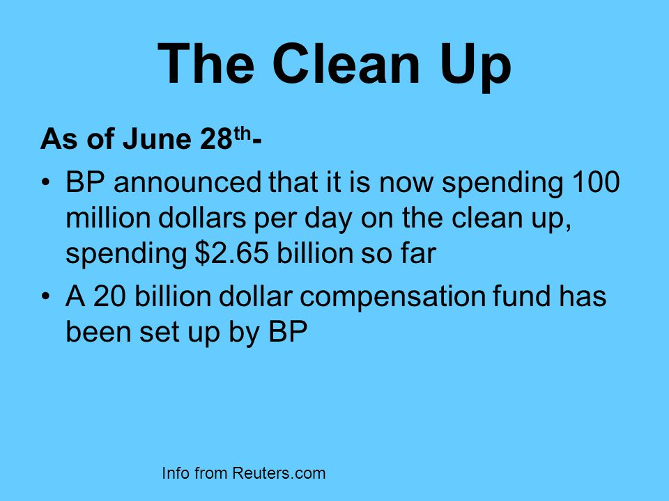 The Clean Up As of June 28 th - BP announced that it is now spending 100 million dollars per day on the clean up, spending $2.65 billion so far A 20 billion dollar compensation fund has been set up by BP Info from Reuters.com