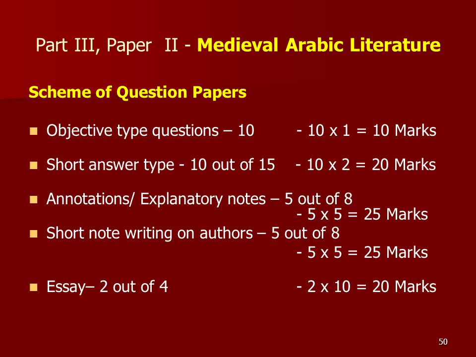 50 Part III, Paper II - Medieval Arabic Literature Scheme of Question Papers Objective type questions – 10 - 10 x 1 = 10 Marks Short answer type - 10