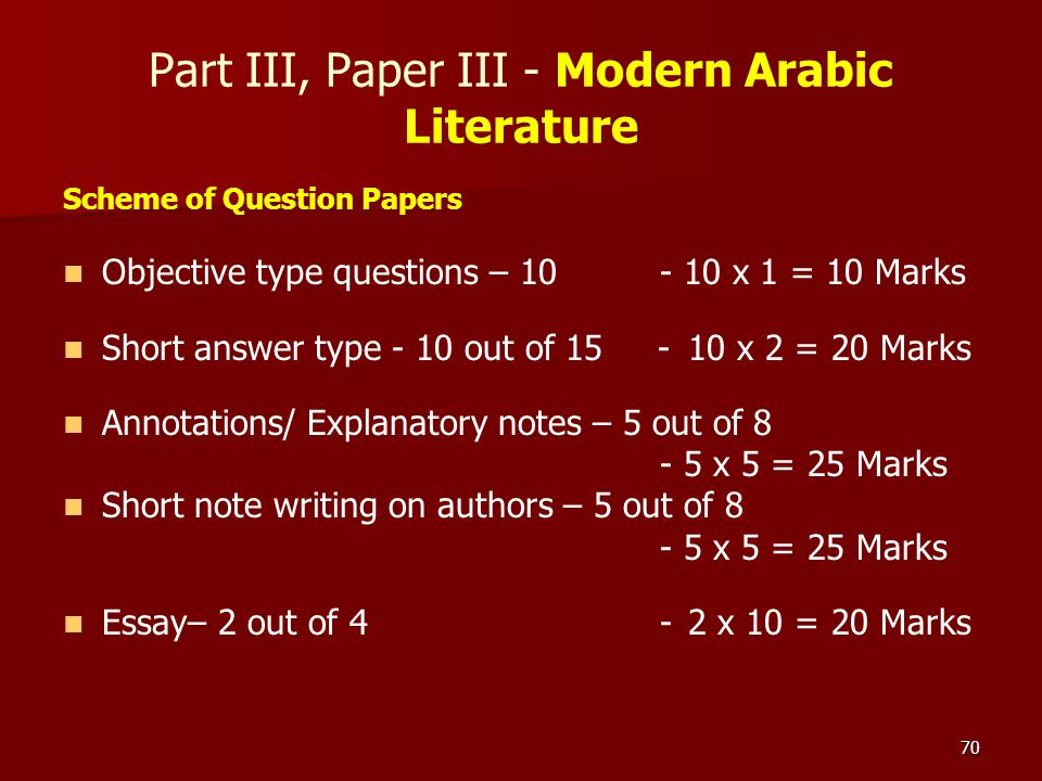 70 Part III, Paper III - Modern Arabic Literature Scheme of Question Papers Objective type questions – 10 - 10 x 1 = 10 Marks Short answer type - 10 o