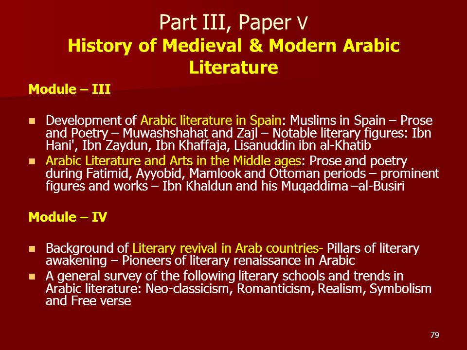 79 Part III, Paper V History of Medieval & Modern Arabic Literature Module – III Development of Arabic literature in Spain: Muslims in Spain – Prose a