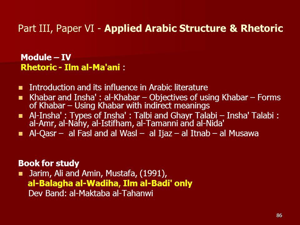 86 Module – IV Rhetoric - Ilm al-Ma'ani : Introduction and its influence in Arabic literature Khabar and Insha' : al-Khabar – Objectives of using Khab