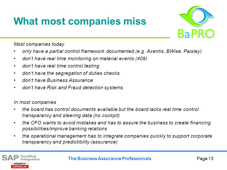 The Business Assurance Professionals Page 14 But what are we looking for.