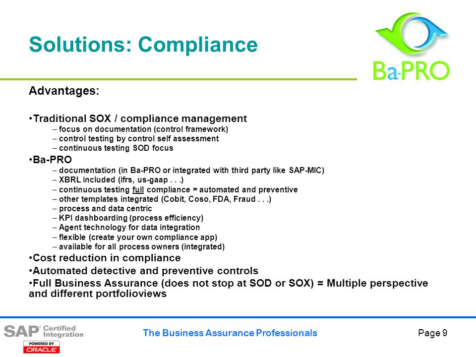 The Business Assurance Professionals Page 10 Business assurance Compliance Some More Detail