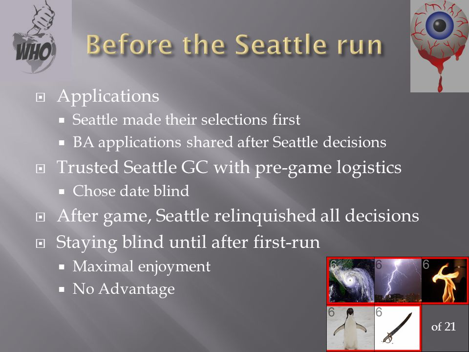  Applications  Seattle made their selections first  BA applications shared after Seattle decisions  Trusted Seattle GC with pre-game logistics  Chose date blind  After game, Seattle relinquished all decisions  Staying blind until after first-run  Maximal enjoyment  No Advantage of 21