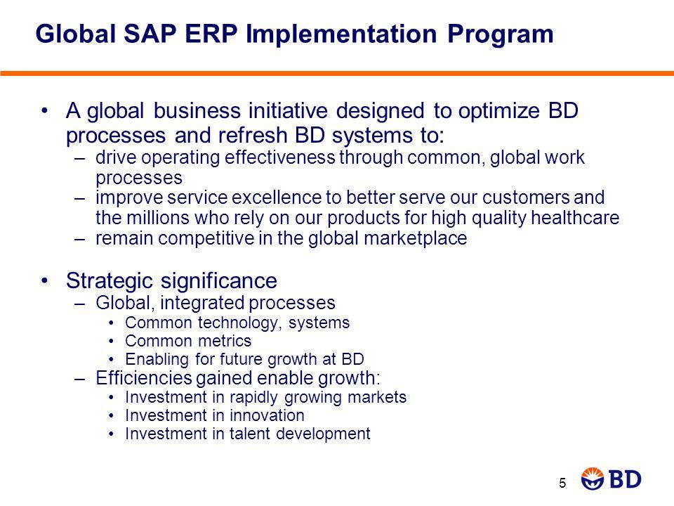 6 Implementation Global Realization Strategic Visioning Global Project Prep Global Design 301 245 Global SAP ERP Implementation Program 3 0 2 45 1 pre- Wave 1 2 Nov.