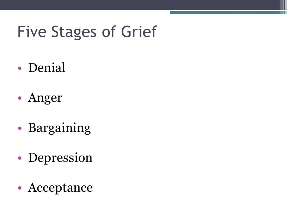 Five Stages of Grief Denial Anger Bargaining Depression Acceptance