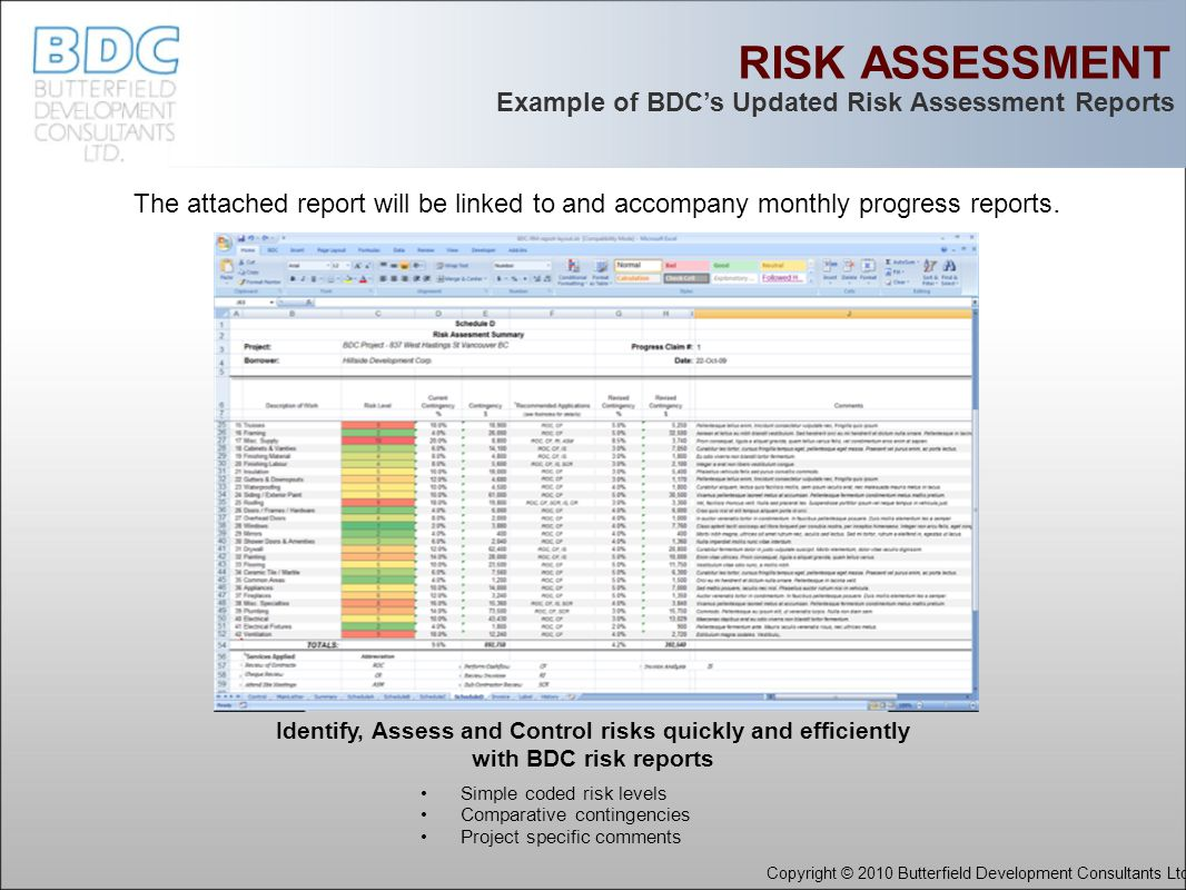 RISK ASSESSMENT Identify, Assess and Control risks quickly and efficiently with BDC risk reports Example of BDC's Updated Risk Assessment Reports Copyright © 2010 Butterfield Development Consultants Ltd.