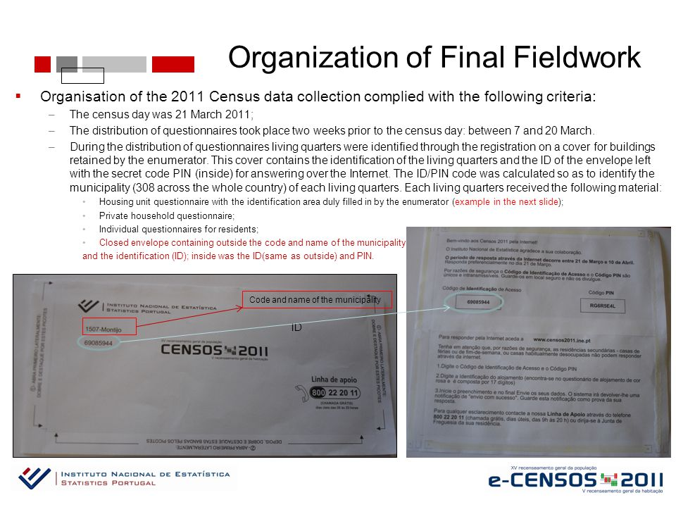 Organization of Final Fieldwork  Organisation of the 2011 Census data collection complied with the following criteria: –The census day was 21 March 2011; –The distribution of questionnaires took place two weeks prior to the census day: between 7 and 20 March.