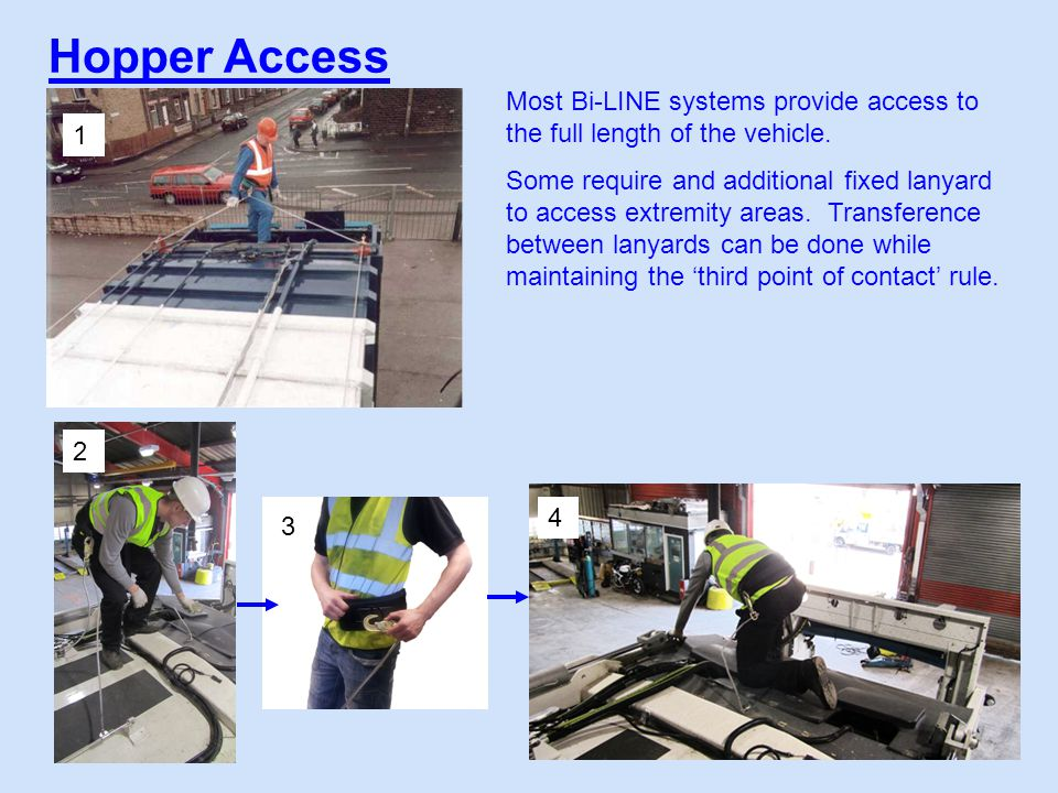 Hopper Access 1 2 3 4 Most Bi-LINE systems provide access to the full length of the vehicle.