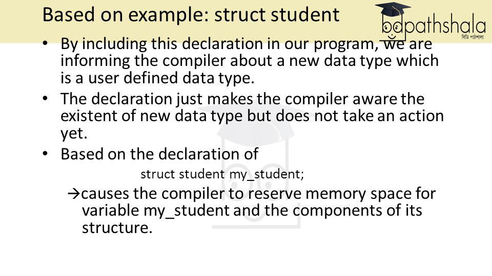 Based on example: struct student By including this declaration in our program, we are informing the compiler about a new data type which is a user defined data type.