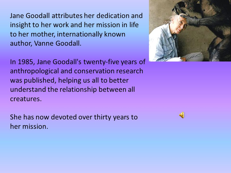 Dr Dame Jane Goodall was a debutante dabbling in secretarial work when she suddenly moved to Africa to study chimpanzees. Goodall was married twice. O