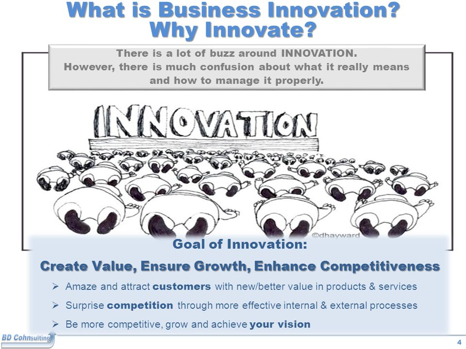 4 What is Business Innovation. Why Innovate. There is a lot of buzz around INNOVATION.