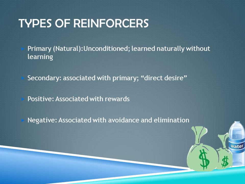 TYPES OF REINFORCERS  Primary (Natural):Unconditioned; learned naturally without learning  Secondary: associated with primary; direct desire  Positive: Associated with rewards  Negative: Associated with avoidance and elimination