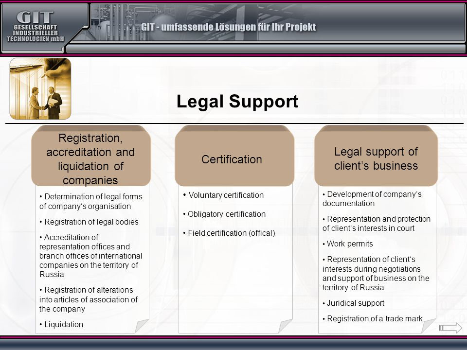 Development of company's documentation Representation and protection of client's interests in court Work permits Representation of client's interests during negotiations and support of business on the territory of Russia Juridical support Registration of a trade mark Voluntary certification Obligatory certification Field certification (offical ) Determination of legal forms of company's organisation Registration of legal bodies Accreditation of representation offices and branch offices of international companies on the territory of Russia Registration of alterations into articles of association of the company Liquidation Legal Support Registration, accreditation and liquidation of companies Certification Legal support of client's business