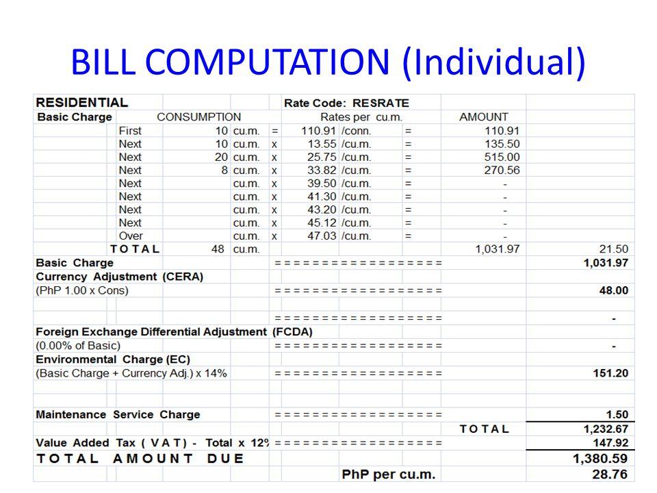 BILL COMPUTATION (Individual)