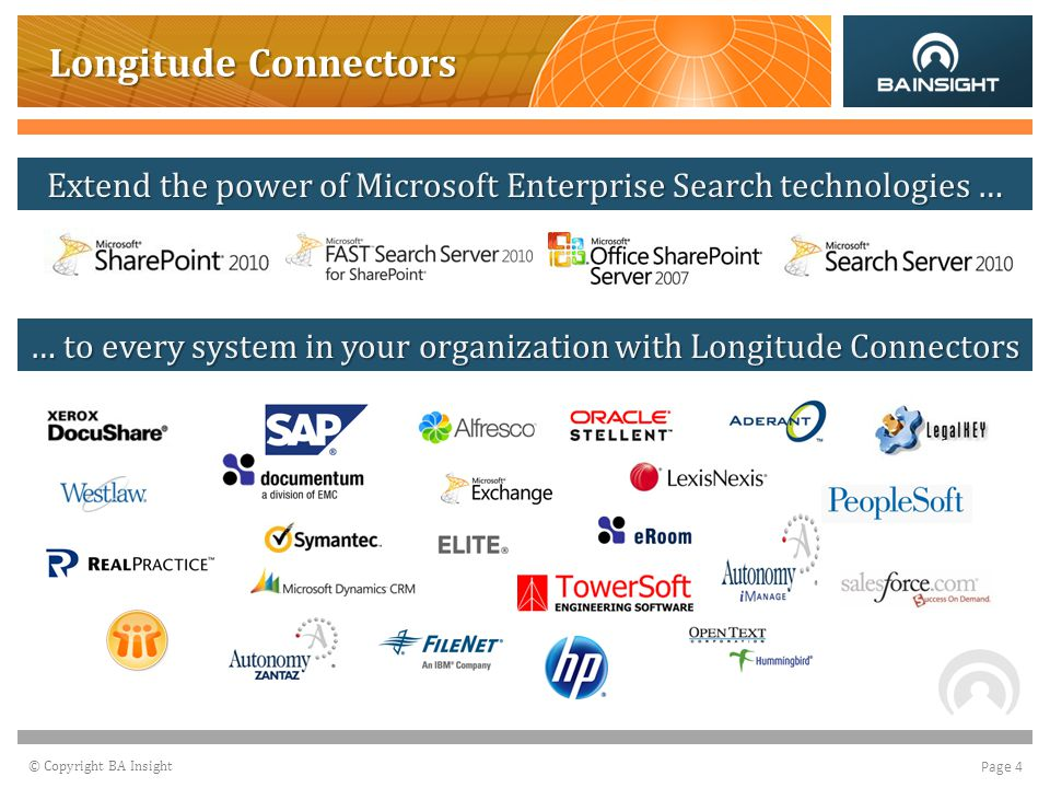 © Copyright BA Insight Page 4 Longitude Connectors Extend the Power of Microsoft Enterprise Search Technologies… …to every system in your organization with Longitude Connectors Extend the power of Microsoft Enterprise Search technologies … … to every system in your organization with Longitude Connectors