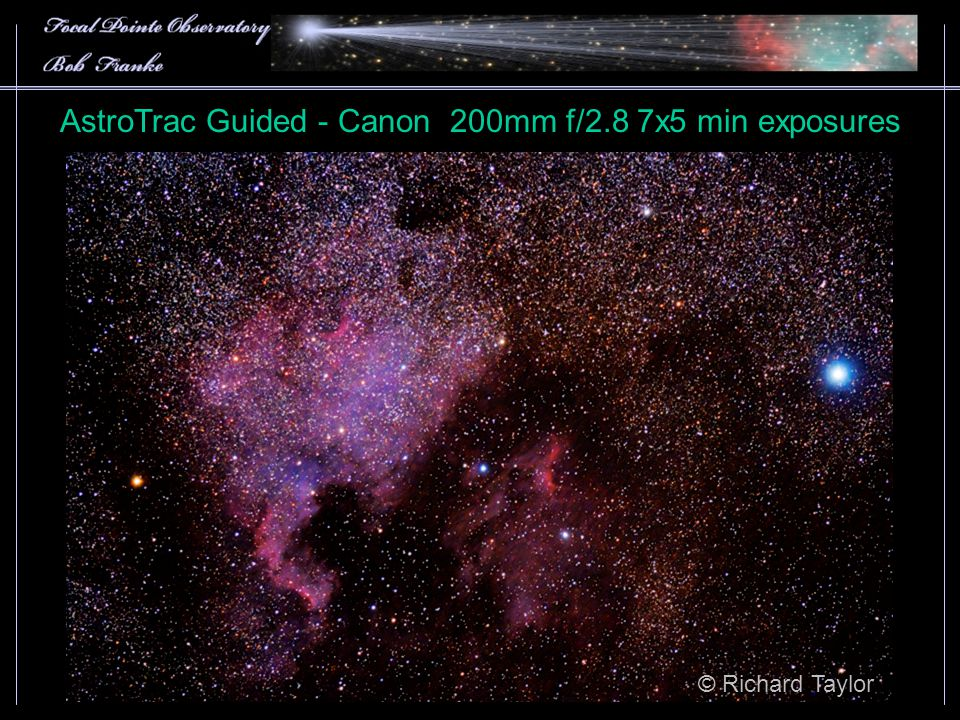 AstroTrac Guided - Canon 200mm f/2.8 7x5 min exposures © Richard Taylor