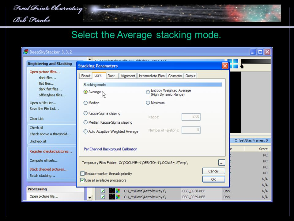 Select the Average stacking mode.