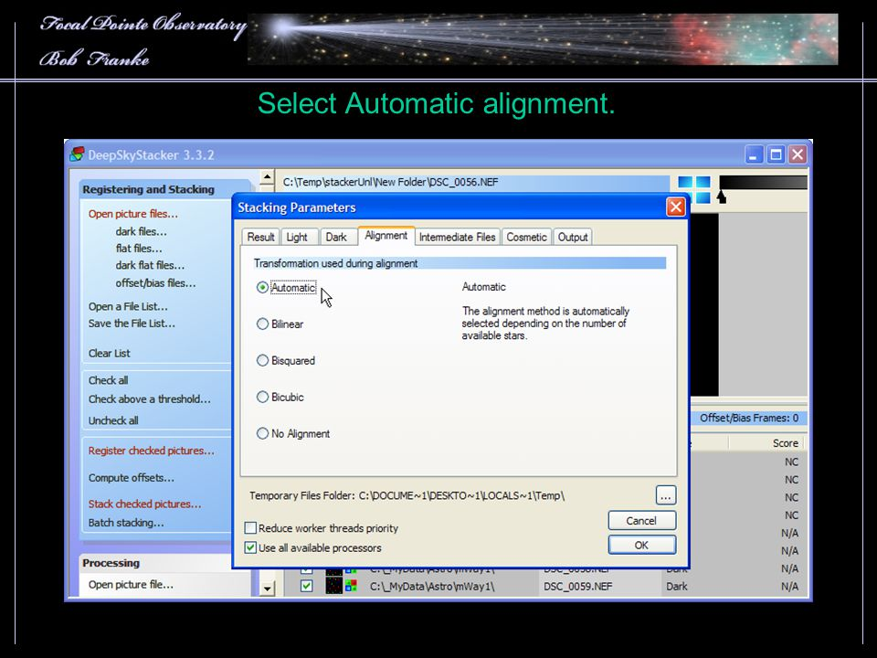 Select Automatic alignment.
