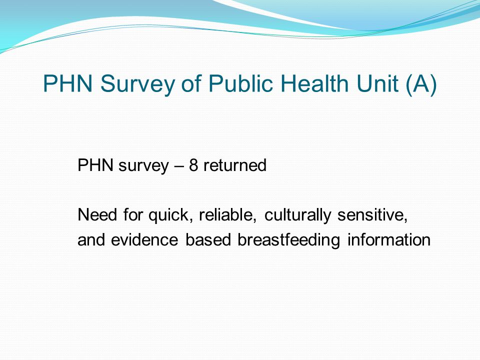 PHN Survey of Public Health Unit (A) PHN survey – 8 returned Need for quick, reliable, culturally sensitive, and evidence based breastfeeding information