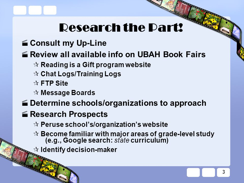 3 Research the Part.