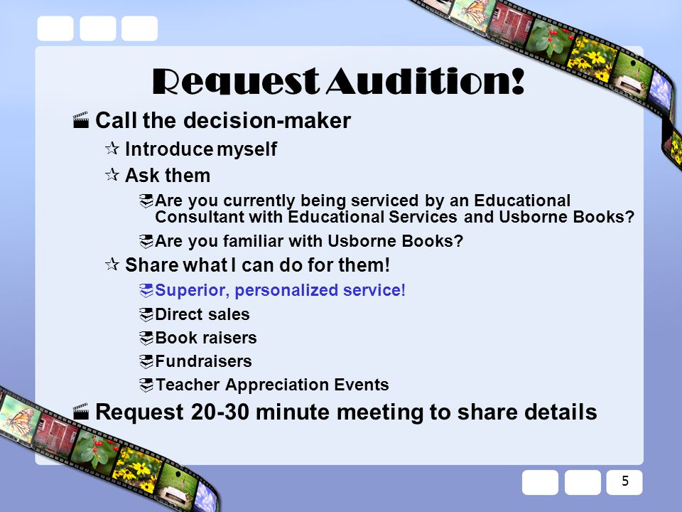 5 Request Audition.