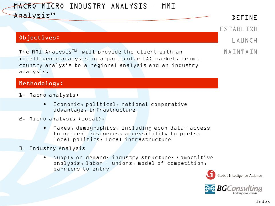MACRO MICRO INDUSTRY ANALYSIS – MMI Analysis™ DEFINE MAINTAIN ESTABLISH LAUNCH The MMI Analysis™ will provide the client with an intelligence analysis on a particular LAC market.