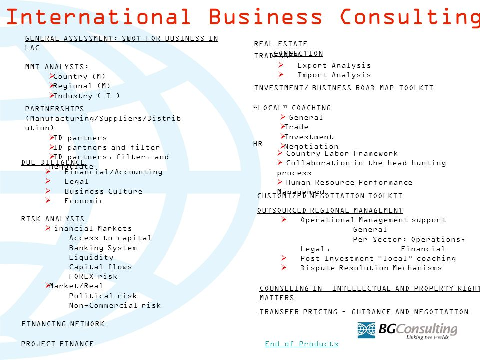 GENERAL ASSESSMENT: SWOT FOR BUSINESS IN LAC MMI ANALYSIS:  Country (M) Country (M)  Regional (M) Regional (M)  Industry ( I ) Industry ( I ) PARTNERSHIPS (Manufacturing/Suppliers/Distrib ution)  ID partners ID partners  ID partners and filter ID partners and filter  ID partners, filter, and negotiate ID partners, filter, and negotiate DUE DILIGENCE  Financial/Accounting Financial/Accounting  Legal Legal  Business Culture Business Culture  Economic Economic TRADEASE™  Export Analysis Export Analysis  Import Analysis Import Analysis INVESTMENT/ BUSINESS ROAD MAP TOOLKIT FINANCING NETWORK RISK ANALYSIS  Financial Markets Financial Markets Access to capital Banking System Liquidity Capital flows FOREX risk  Market/Real Market/Real Political risk Non-Commercial risk LOCAL COACHING  General General  Trade Trade  Investment Investment  Negotiation Negotiation CUSTOMIZED NEGOTIATION TOOLKIT HR  Country Labor Framework Country Labor Framework  Collaboration in the head hunting process Collaboration in the head hunting process  Human Resource Performance Management Human Resource Performance Management COUNSELING IN INTELLECTUAL AND PROPERTY RIGHT MATTERS OUTSOURCED REGIONAL MANAGEMENT  Operational Management support Operational Management support General Per Sector: Operations, Legal, Financial  Post Investment local coaching Post Investment local coaching  Dispute Resolution Mechanisms Dispute Resolution Mechanisms REAL ESTATE CONNECTION International Business Consulting Products End of Products TRANSFER PRICING – GUIDANCE AND NEGOTIATION PROJECT FINANCE