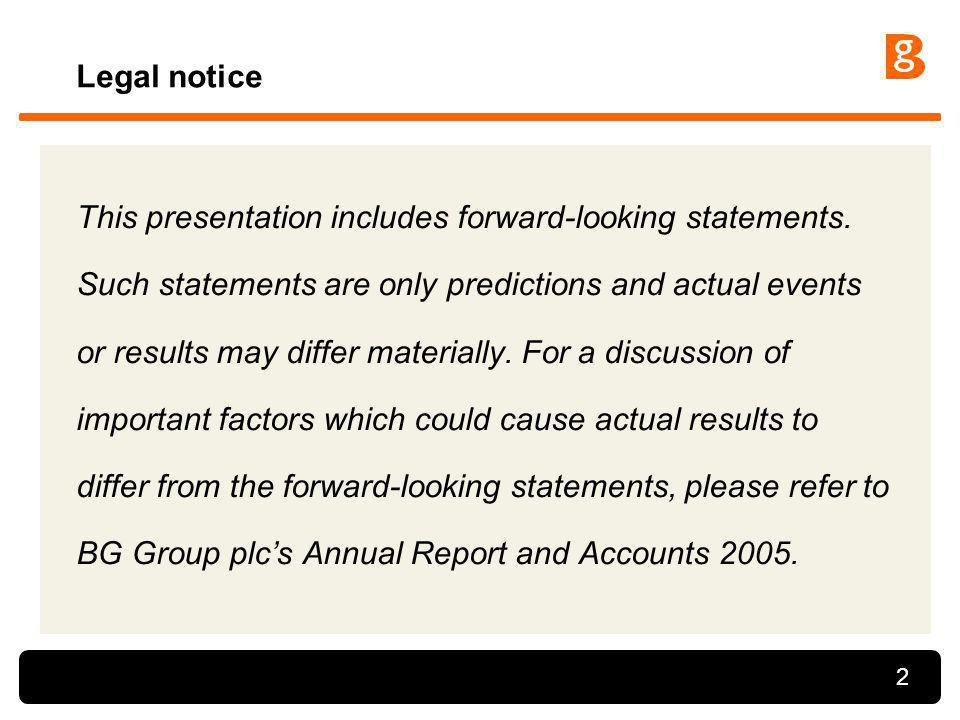 2 Legal notice This presentation includes forward-looking statements. Such statements are only predictions and actual events or results may differ mat