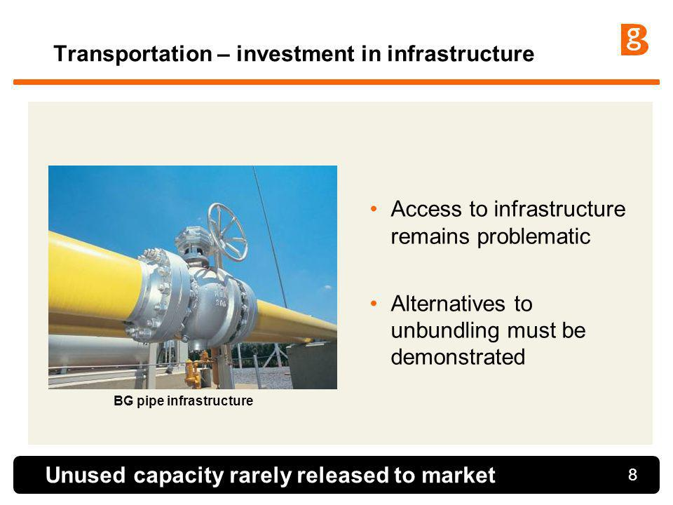 8 Transportation – investment in infrastructure Access to infrastructure remains problematic Alternatives to unbundling must be demonstrated Unused ca