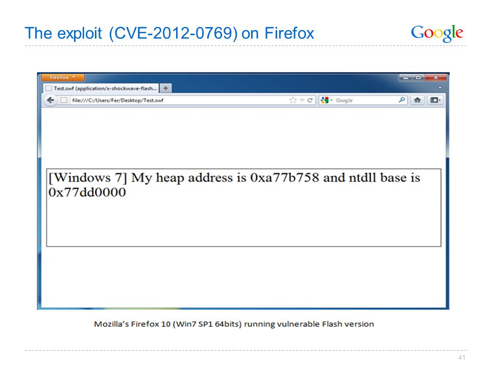 The exploit (CVE-2012-0769) on Firefox 41