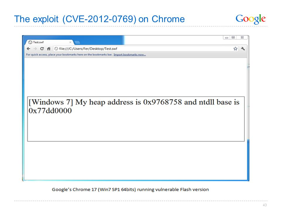 The exploit (CVE-2012-0769) on Chrome 43