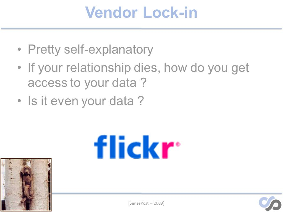 [SensePost – 2009] Vendor Lock-in Pretty self-explanatory If your relationship dies, how do you get access to your data .