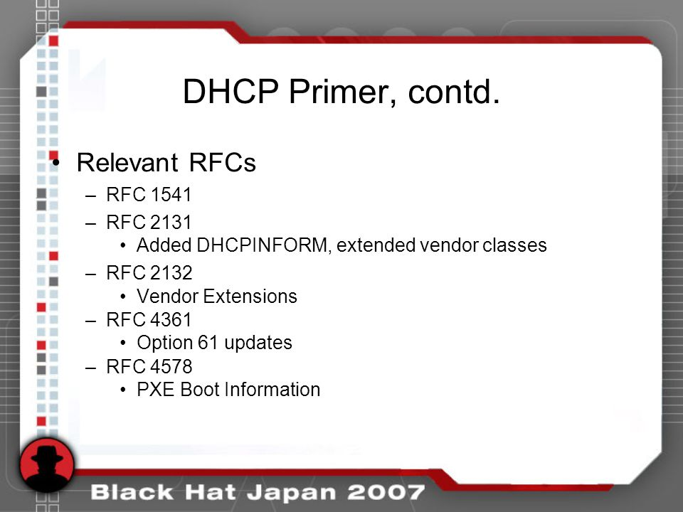 Summary DHCP is an accurate and overlooked source of fingerprinting data Multiple methods available –Option 55, most reliable –Option 60, easiest (when accurate) Many potential applications –NAC –Asset inventory