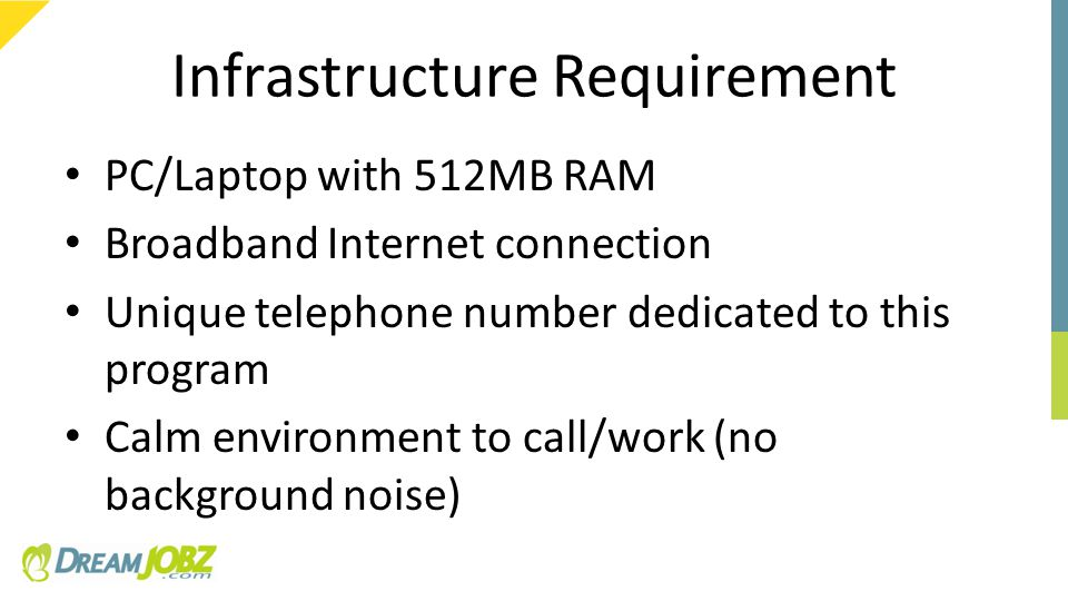 Infrastructure Requirement PC/Laptop with 512MB RAM Broadband Internet connection Unique telephone number dedicated to this program Calm environment to call/work (no background noise)