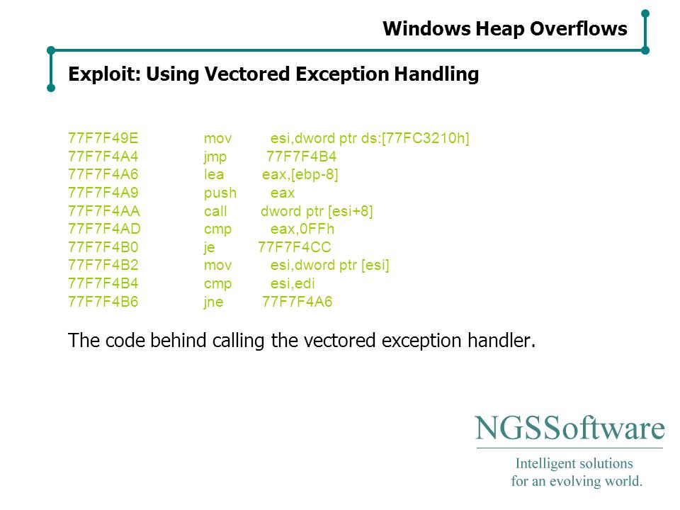 Windows Heap Overflows Exploit: Using Vectored Exception Handling 77F7F49Emov esi,dword ptr ds:[77FC3210h] 77F7F4A4jmp 77F7F4B4 77F7F4A6lea eax,[ebp-8] 77F7F4A9push eax 77F7F4AAcall dword ptr [esi+8] 77F7F4ADcmp eax,0FFh 77F7F4B0je 77F7F4CC 77F7F4B2mov esi,dword ptr [esi] 77F7F4B4cmp esi,edi 77F7F4B6jne 77F7F4A6 The code behind calling the vectored exception handler.
